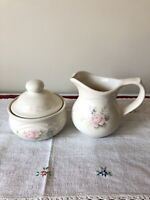 Pfaltzgraff Pink Tea Rose Stoneware Coffee Creamer and Sugar bowl w Lid Vintage