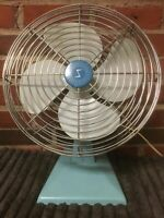 """Vintage Superior Metal Electric Fan Turquoise Blue 12"""" Fan 15"""" Tall Made in USA"""