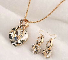 GOLD PLATED BIG CRYSTAL HEART STATEMENT NECKLACE & EARRINGS SET