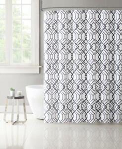 VCNY Home Grey White Fabric Shower Curtain: Modern Geometric Lattice Design