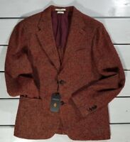NEW ATELIER SCOTCH 7/7 MEN'S JACKET SIZE L RED WOOL HERRINGBONE PATTERN
