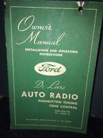 "Ford Deluxe Auto Radio ""Owners Manual"" Original Copy Rare!"