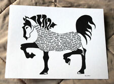 Stunning Horse Created With Pen & Ink in Calligraphy Verse about The Horse Koran