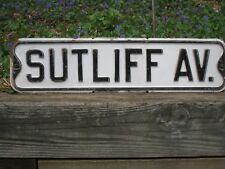 "Mid-century SUTLIFF AV. antique metal vintage street sign 24""x6"""