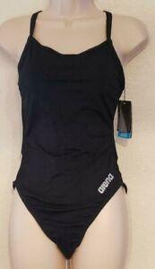 Arena Women's MaxLife Thin Strip Open Racerback One Piece Swimsuit, Black, 36