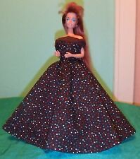 Dark Brown Gown with Tiny Colorful Spots for Barbie Doll BG42