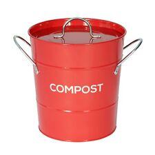 Red compost caddy avec innter seau-cuisine composteur de-métal seau