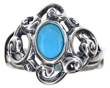 Carolyn Pollack Blue Turquoise Scroll Sterling Silver Ring Size 8