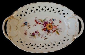 """ANTIQUE MITTERTEICH MOSANIC MADE IN GERMANY 11"""" PIERCED OVAL BOWL GOLD TRIM 1900"""