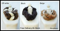 Ladies womens Fashion snood warm winter knitted scarf Faux fur