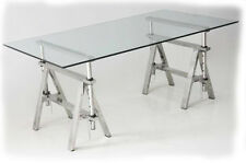 Trestle 1600x900 Stainless Steel Trestle Base & Glass Dining Table - BRAND NEW
