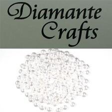 100 x 8mm White Pearl Loose Round Flat Back Rhinestone Craft Embellishment Gems
