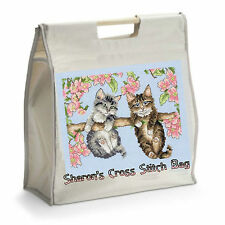Personalised Cross Stitch Bag with Wooden Handles - Ideal GIFT for Mother's Day