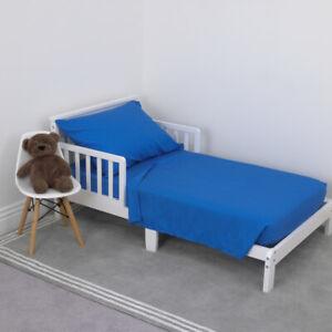 NoJo Solid Blue 3 Piece Toddler Sheet Set