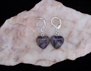 Natural Amethyst 16 mm Heart, 925 Silver Leverback Earrings.Handmade In Gift Box