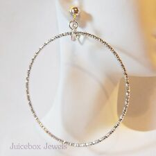 """CLIP ON 2-3/4"""" SILVER TONE Large/Big Thin Textured Hoop Non-Pierced Earrings B17"""