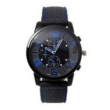 Men Fashion Stainless Steel Sport Cool Quartz Hours Wrist Analog Watch Blue