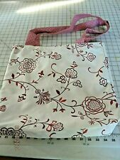 "# 28 EMBROIDERED FLORAL TOTE BAG REVERSIBLE 14"" X 16""  100% COTTON"