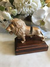 Mid Century Hand Crafted Standing Lion Business Card Holder