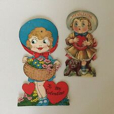 Lot of 2 vintage valentines mechanical goggly eye girls nice condition