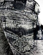 "$220 Mens Rock Revival Jeans ""Acid Wash Shorts"" Black Leather Inserts Size 36"