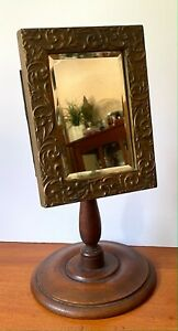 RARE Fancy 1871 Gilt VICTORIAN VANITY MIRROR on Stand DRESSING JEWELRY Counter
