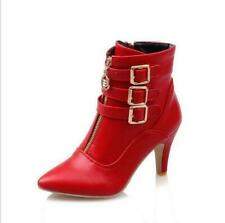 Womens Ankle Boots High Heel Buckle Zipper PU Leather Booties Pointed Toe Shoes