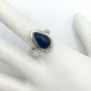 ARTISAN sterling lapis lazuli ring sz 6.25 - bezel-set teardrop 925 silver