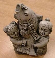 Junge, Mädchen Chinesische Kinder mit KOI, FIGUR BUDDHA Steinfigur Teich Skulptu