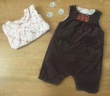 Obaïbi***Salopette velours et blouse 1 mois 53 cm Automne/Hiver Marron Orange
