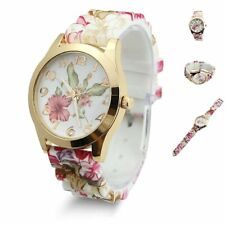 Women Silicone Rubber Jelly Wrist Watch Flower Pattern For Adult Girls Kids Gift
