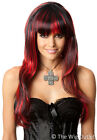 RED/BLACK LONG COSTUME WIG Party Halloween Witch Vampire Gothic Womens New