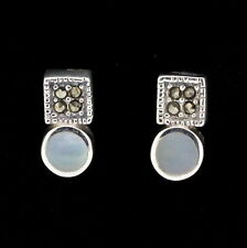 Sterling Silver Marcasite & Mother of Pearl Vintage Style Stud Earrings RRP $55
