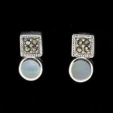 Sterling Silver Marcasite & Mother of Pearl Vintage Style Stud Earrings RRP $55