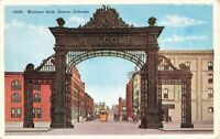 Postcard Welcome Arch Denver Colorado