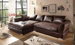 Big Sofa,Sofa, Ecksofa,Vintage-Wildlederoptik mit Boxspringpolsterung  braun.