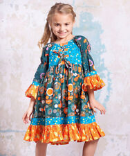 NWT 6 Jelly the Pug boutique Agra floral lace up orange & blue dot marquee dress