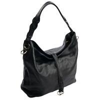 ital. edle Ledertasche Shopper Schultertasche Hobo Bag Schwarz echtes Leder 990S