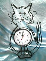 Black metal wire Cat Clock