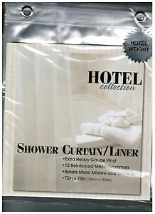 "Heavy Weight Hotel 8-gauge Vinyl Curtain Shower Liner 72"" x 72""  Multiple Colors"