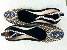 BLACK VELVET  LADIES INDIAN LEATHER WEDDING PARTY  KHUSSA SHOES   SIZE 8