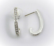 HORSE & WESTERN JEWELLERY JEWELRY LADIES  CRYSTAL HALF HOOP EARRINGS SILVER