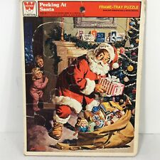Christmas Peeking At Santa Frame-Tray Puzzle Whitman 1979 4505-1B