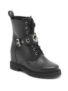 FENDI Black Leather Logo Motorcycle Combat Ankle Boots IT39 US 8