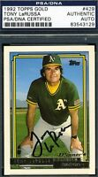 Tony Larussa Autograph Psa/dna 1992 Topps Certified Authentic Signed