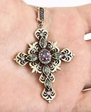 Topaz and Amethyst Pendent. Antique Vintage 925 Silver Green