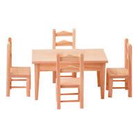 1:12 Esszimmertisch Stühle Set Puppenmöbel aus Holz für Puppenhaus