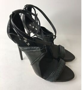 L.A.M.B. LAMB Size 10 (41) Black Leather Strappy High Heels Designer