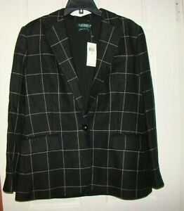 Lauren Ralph Lauren Womens Black Windowpane Blazer Jacket Linen Sz 10 NWT $375