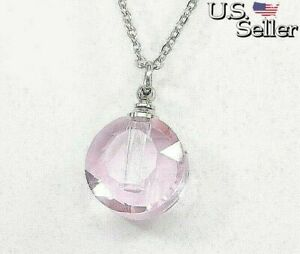 Pink Glass Urn Necklace, Human or Pet Ashes Keepsake, Cremation Memorial Jewelry
